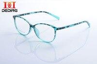DEDING 2015 Nouveau Élégant Personnalité Rétro Ovale transparent Léopard Lentille En Plastique cadre Lunettes 4 types pas cher prix unisexe DD1055
