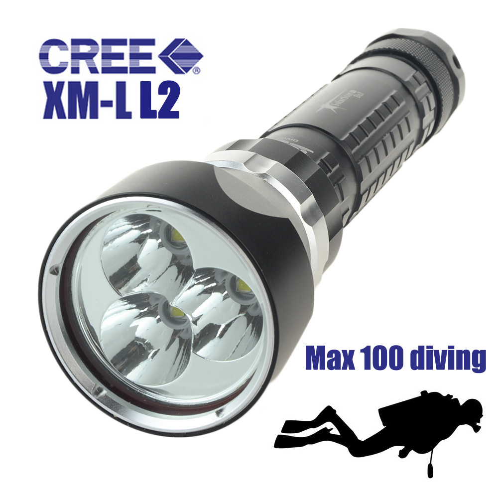 Professional Diving LED Flashlight Torch Underwater 100m Scuba Diver Lantern 3 x CREE XM-L L2 6000 Lumens Power By 18650 26650 boruit 5000lm strong bright xml l2 led scube diving flashlight underwater torch outdoor diver lantern 18650 26650 battery