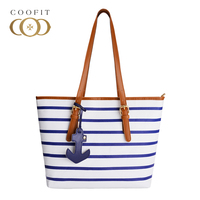 Coofit Female Latest Fashion Designer Strips Handbags Womens Casual Large Capacity PU Leather Single Shoulder Bags