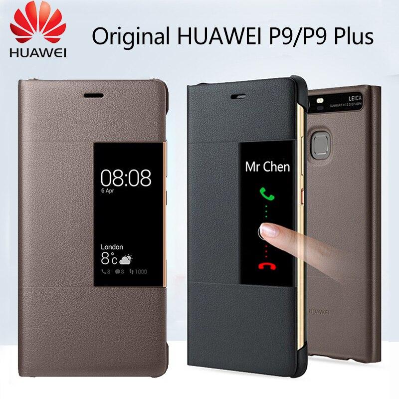 Huawei Caso Original Oficial P9 Smart View Janela Do Caso Da Aleta de Couro PU Huawei P9 Mais Caso Tampa Do Telefone de Proteção Integral funda