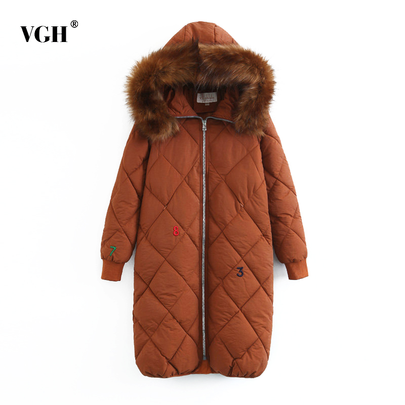 VGH Embroidery Long Women Cotton Coats With Fur Collar Winter Warm Hooded Black Down Women's Windbreaker Casual Clothing Fashion 100% white duck down women coat fashion solid hooded fox fur detachable collar winter coats elegant long down coats