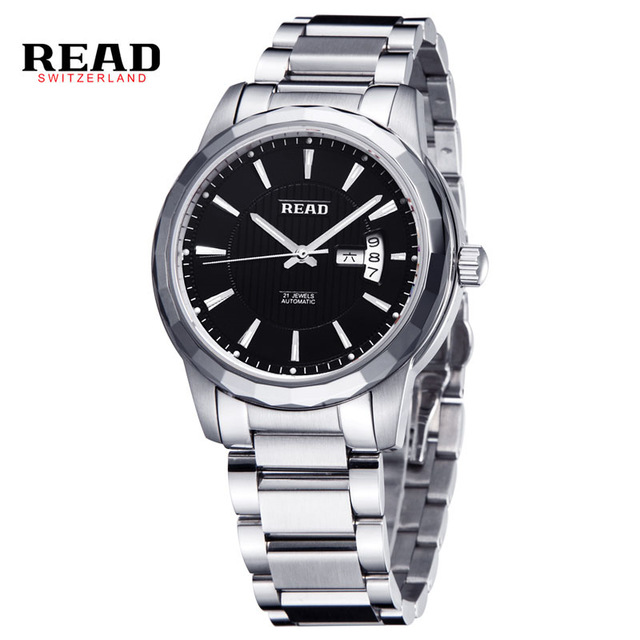 READ Hot Luxury Luminous Automatic Mechanical Skeleton Dial Stainless Steel Band Wrist