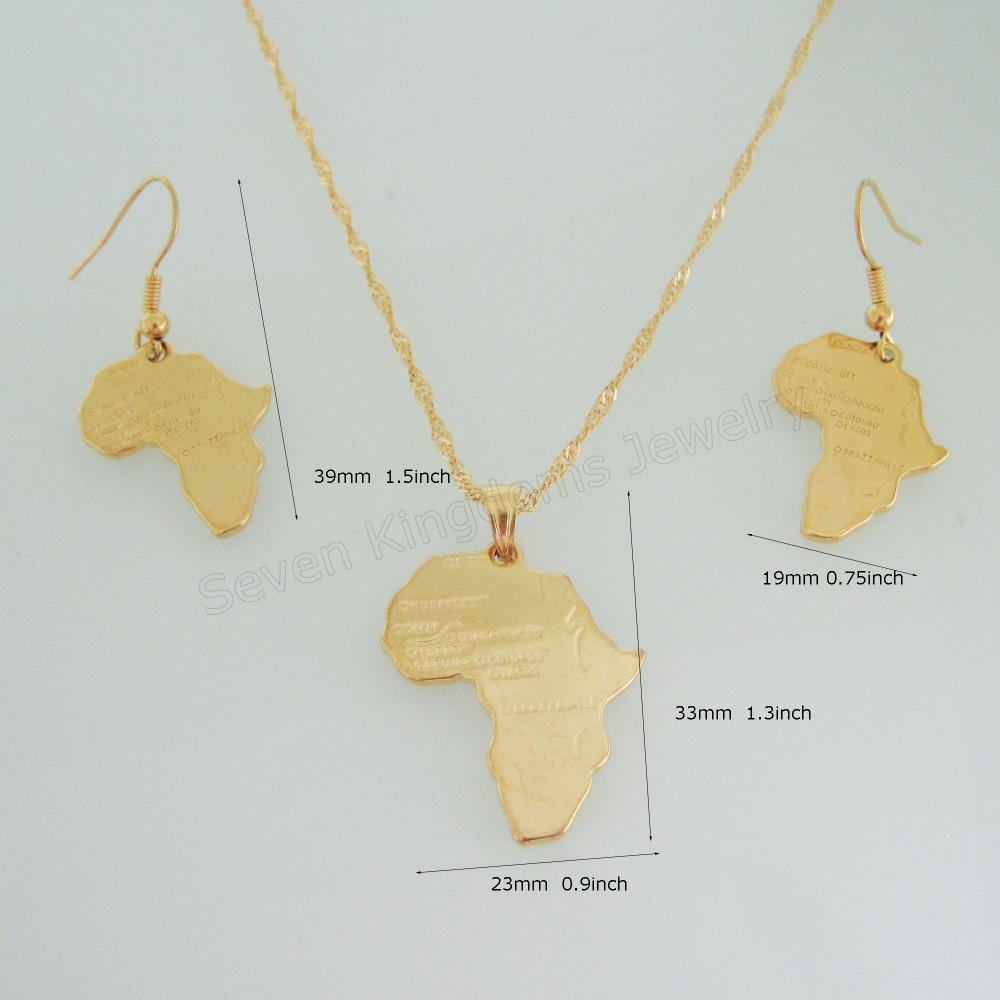MIN ORDER 10 CAN MIX DESIGN NEW YELLOW GOLD GP 18 NECKLACE PLAIN SURFACE AFRICA MAP