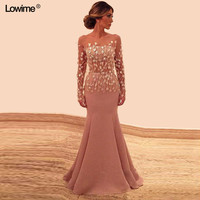 Illusion Mermaid Long Sleeves Lace Mother of the Bride Dresses Strapless Wedding Party Dress Mother Dresses For Wedding
