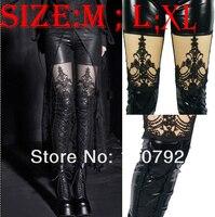 Ml XL Plus Size Sexy Shiny Faux Leather Wetlook Gothic Punk Rock Decoratieve Patroon Lace Up Legging Leggins Leggin Broek