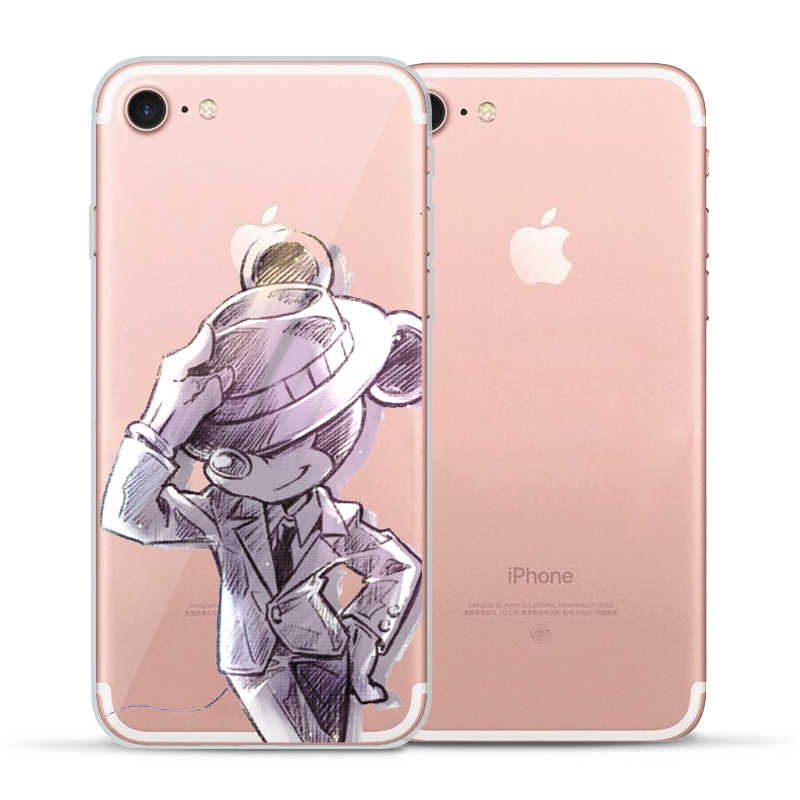 Bonito Minnie Mouse Cool Mickey caso de Telefone Para o iphone X shell para 8 8 Plus X 7 Plus 5S Macio caixa do silicone para o iPhone coque 6 S