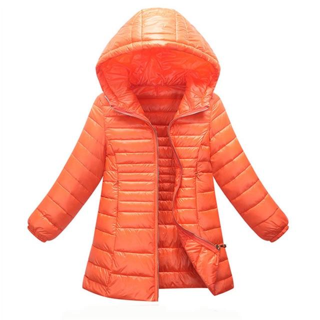 2017 Filles Hiver Manteau Mode Enfants Long Style Chaud Parka de Léger  Zipper Veste Outwear Fille