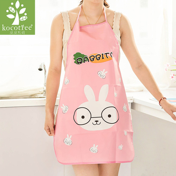 Hot Sale Mother Gift Cute Cartoon Rabbit Pattern Women Aprons Waterproof Kitchen Cooking Apron Sleeveless cooking Accessory