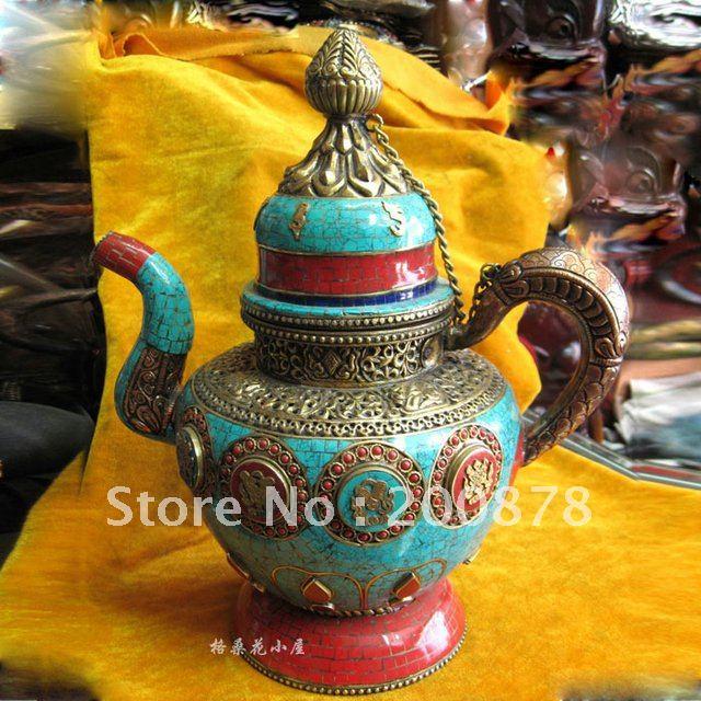 Aliexpress Hdc0791 Tibetan Bar Resterant Decor Oranmanet Br Turquoise Er Kettle Antiqued Home Handicrafts 28cm From Reliable