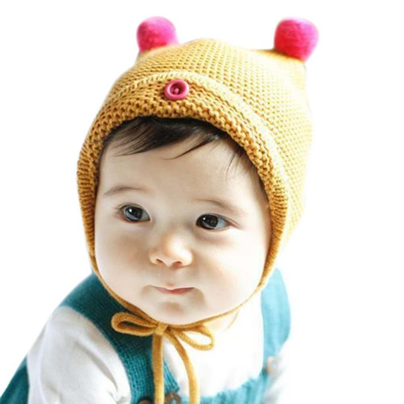 Winter Warm Baby Hat Girls Boys Warm Knitted Lace-Up Beanies Caps Crochet Baby Accessories H7