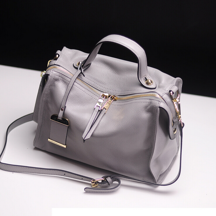 Genuine Leather Boston Bag Women font b Handbag b font Fashion Luxury Shoulder Bag Solid Zipper