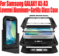 Original Lovemei Aluminum Gorilla Glass Shock Drop Snow Waterproof Case For Samsung GALAXY A5 A3 2015