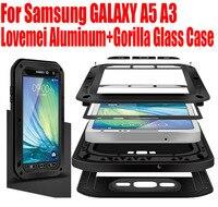Original Lovemei Aluminum Gorilla Glass Shock Drop Snow Waterproof Case For Samsung GALAXY A5 A3 2015