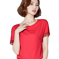 Ladies White Red Chiffon Blouses Summer Fashion Crochet Lace Patchwork Short Sleeve Blouses Female Simple Tops