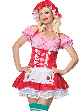 Free Shipping Newly CL5285 Sexy Adult Naughty Strawberry Shortcake Short  Sleeve Costume for Women Sexy Fruits