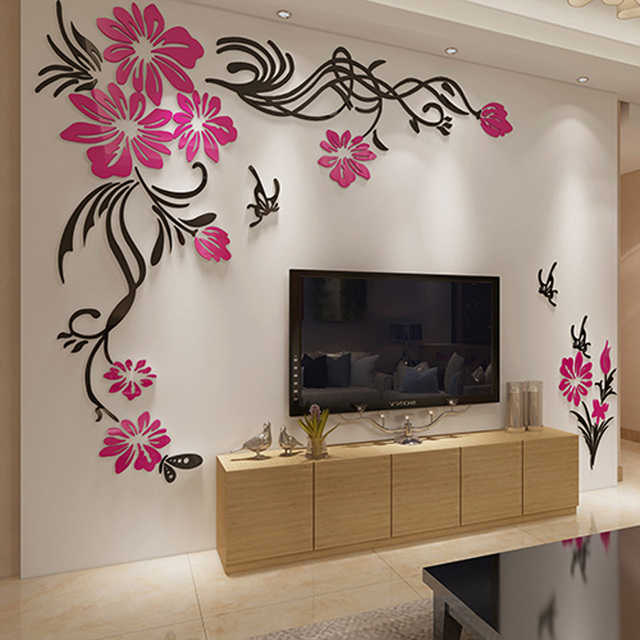 Large Tv Background Wall Decorations Beautiful Flower Vine Acrylic Stickers Diy Home Decor Gift