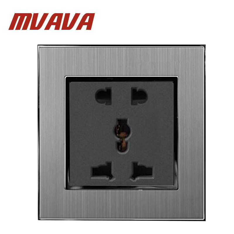 Mvava 5 Pins Universal Sokcet 10A 16A AC 110-250V Brushed Silver Satin Metal 2 Pin 3 EU UK US Power Wall Socket