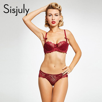 sexy brief sets red lace up underwire half cup bra push up intimates non-adjusted-straps lace bra and brief sets