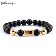 WML 4 styles New Trendy Cuboid Charm men bracelets Black CZ Bracelets & Bangles for women copper beads Jewelry