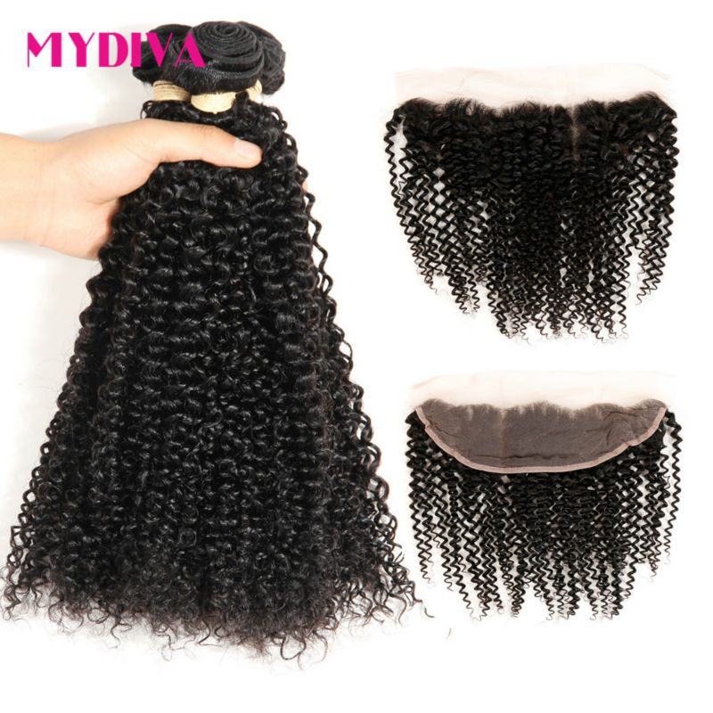 Brazilian Hair Weave Bundles With Frontal Kinky Curly Human Hair Bundles With Closure 13x4 Lace Frontal