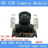 PU'Aimetis Industriale HD 1080 P di distorsioni 30FPS 6 HA CONDOTTO LA luce a infrarossi modulo telecamera USB wide dynamic 2MP supporto audio Linux-in Telecamere di sorveglianza da Sicurezza e protezione su