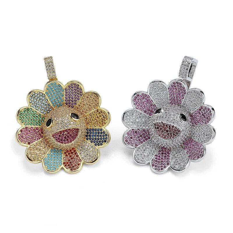 Murakami soleil fleur tournesol pendentif Micro Zircon Hiphop coloré fleur rotatif pendentif collier