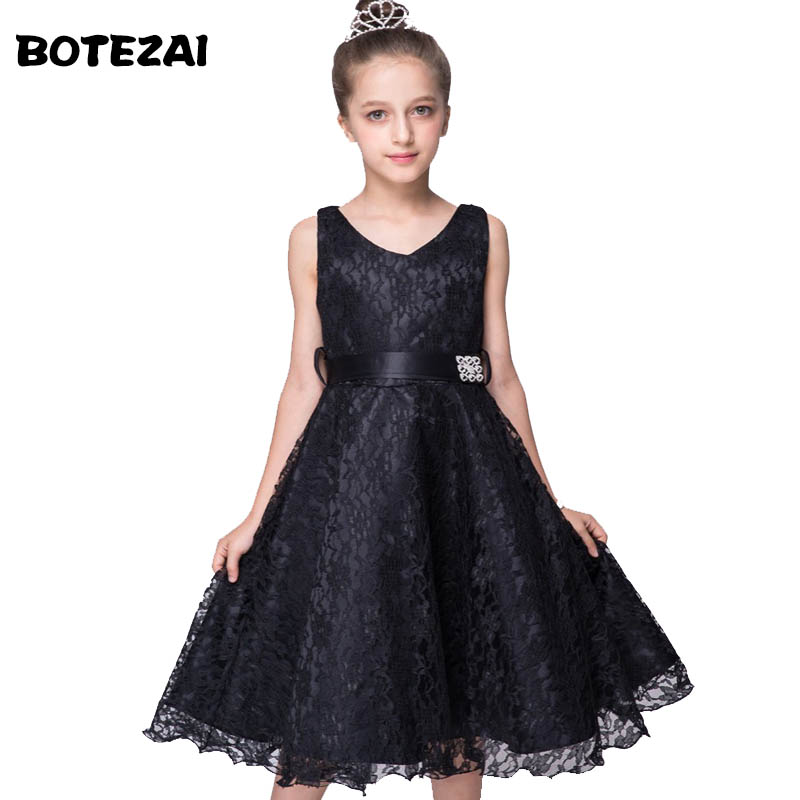 2016 Summer Sleeveless Kids Wedding Bridesmaid Girls Dresses Princess Lace Girl Dress Ceremony Party Wear Teenage Girls Clothes цена и фото