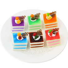 050 Simulation cake fruit PU square sandwich fake photo decoration 5*6cm