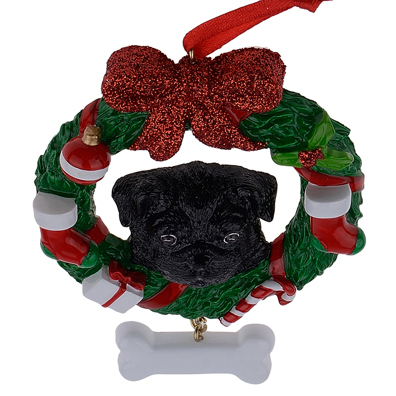 black pug dog resin crafts shiny christmas ornaments hand painted and easily personalized as for pug owners gifts or home decor in pendant drop ornaments