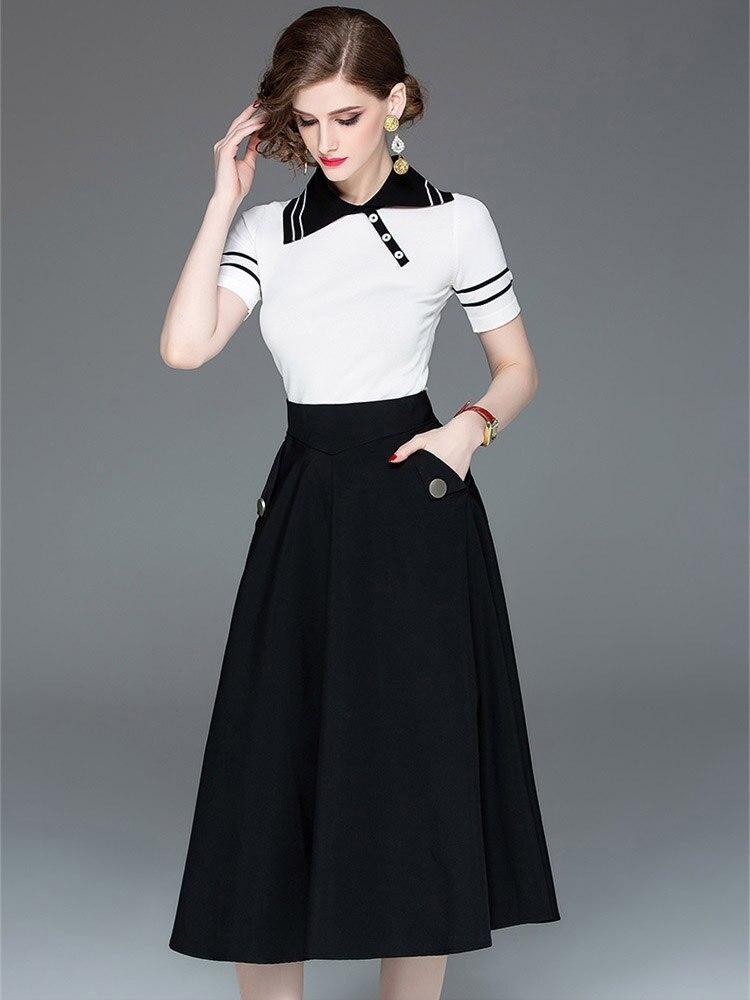 Two Piece Original Design Womens 2019 Spring High Quality New Short-Sleeved Shirt + A-Line Skirt Elegant Suit