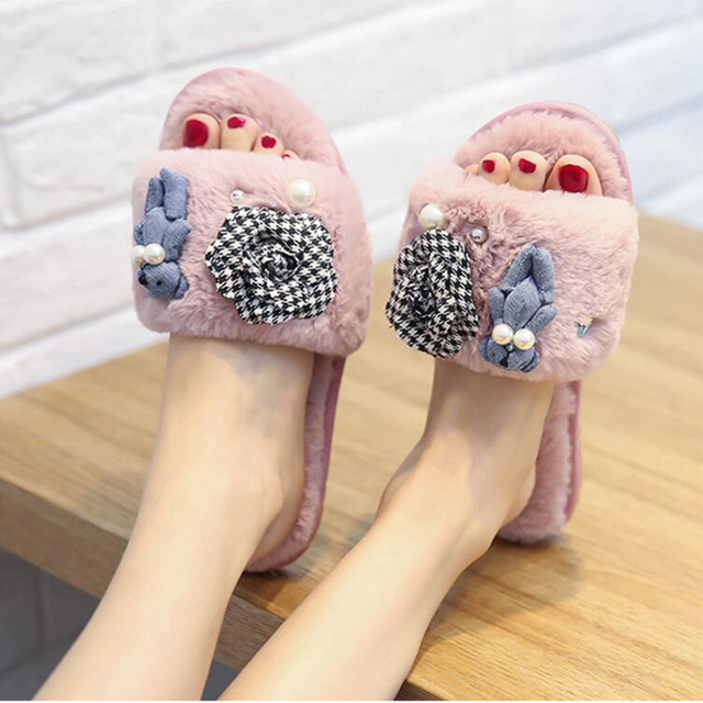 4fe6aa0bb2f2f0 women plaid camellia fur home slippers cute bear decoration flip flops  fashion pearl fur sandals ladies winter fur shoes c166