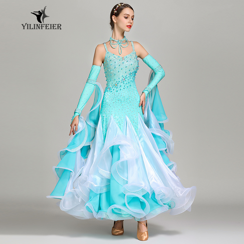 New Ballroom Dance Competition Dress Dance Ballroom Waltz Dresses Standard Dance Dress Women Ballroom Dress S7024