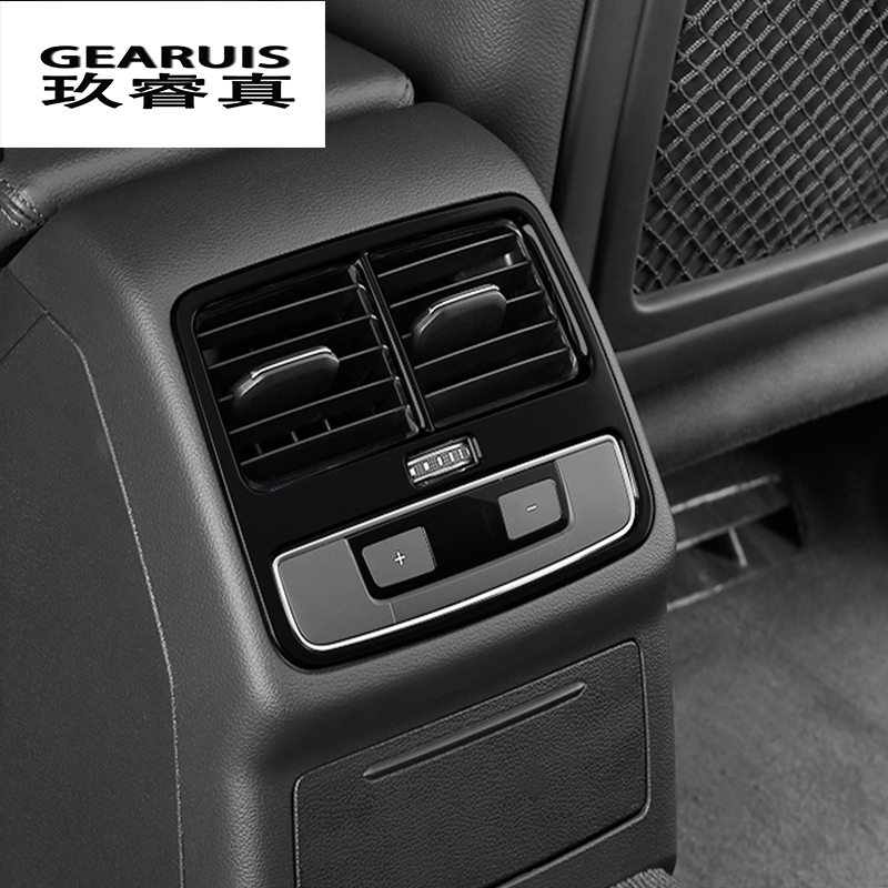 Car Rear Air Conditioning Outlet Frame Decor Back AC Vents Trim Blue Black stainless steel Stickers for Audi A4 B9 Car Styling stainless steel car interior dashboard side air conditioning outlet vents decorative cover trim strip for audi a3 8v 2013 16