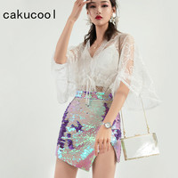 Cakucool Sequined Skirt High Slit Pencil Skirt Double Layer Discolor Beading Summer Skirts High Waist Bling Shiny Party Skirts