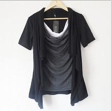2016 New Non-mainstream Men's Clothing Short-sleeve T-shirt Personality Costume Faux Two Piece Batwing Shirt Male Long Gown Top