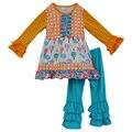Roupas de criança Meninas Roupas de Bebê de Algodão Crianças T-shirt Infantil Tops Ruffle Pants 2 PCS Suit Boutique das crianças conjuntos de roupas F101