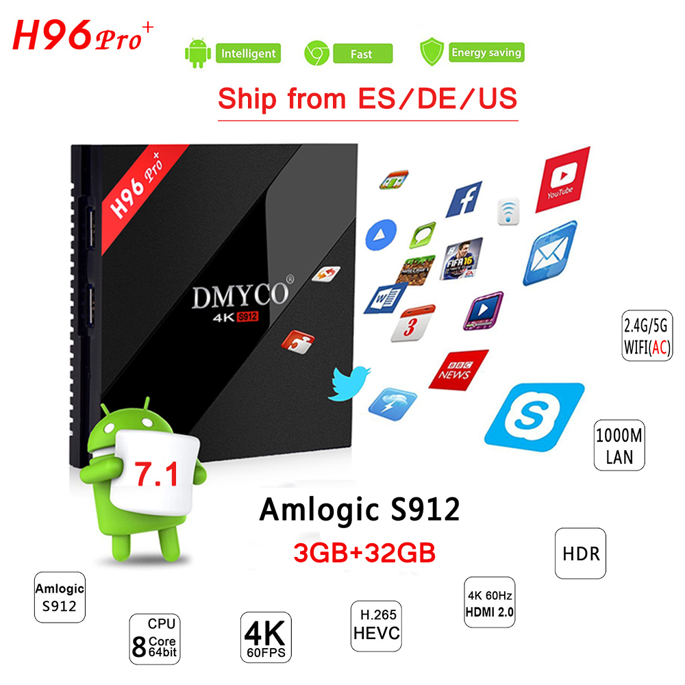 H96 PRO Plus Amlogic S912 Octa Core TV Box 3G 32G Dual WIFI Bluetooth 4.1 Android 7.1 Smart TV H.265 4K 1000LAN Media Player цены онлайн