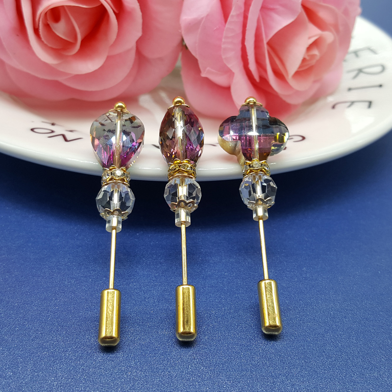 Shiny Crystal Beads Stick Lapel Pins untuk Suit / Coat / Hijab