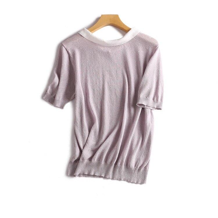 3 Chameau À grey Purple Femmes Col De T Mode down shirts light Couleur En Mince Blue l Turn Courtes M T Nylon Camel Tricot Solide Viscose shirt Manches Mélange xH0aqfRwW4