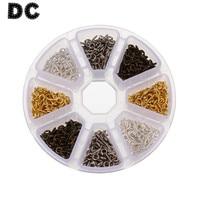 DC 800 adet/kutu Altın/Gümüş/Rodyum Bronz Renk Tiny Metal Göz Pimi Kefalet Peg Deliği Vida 5*12mm DIY Kolye Bağlayıcı F3720 için