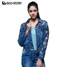 GLO-STORY  Women's 2018 Spring New Jean Jackets Women Sleeve Floral Embroidered Denim-Jacket Coats WFY-5860