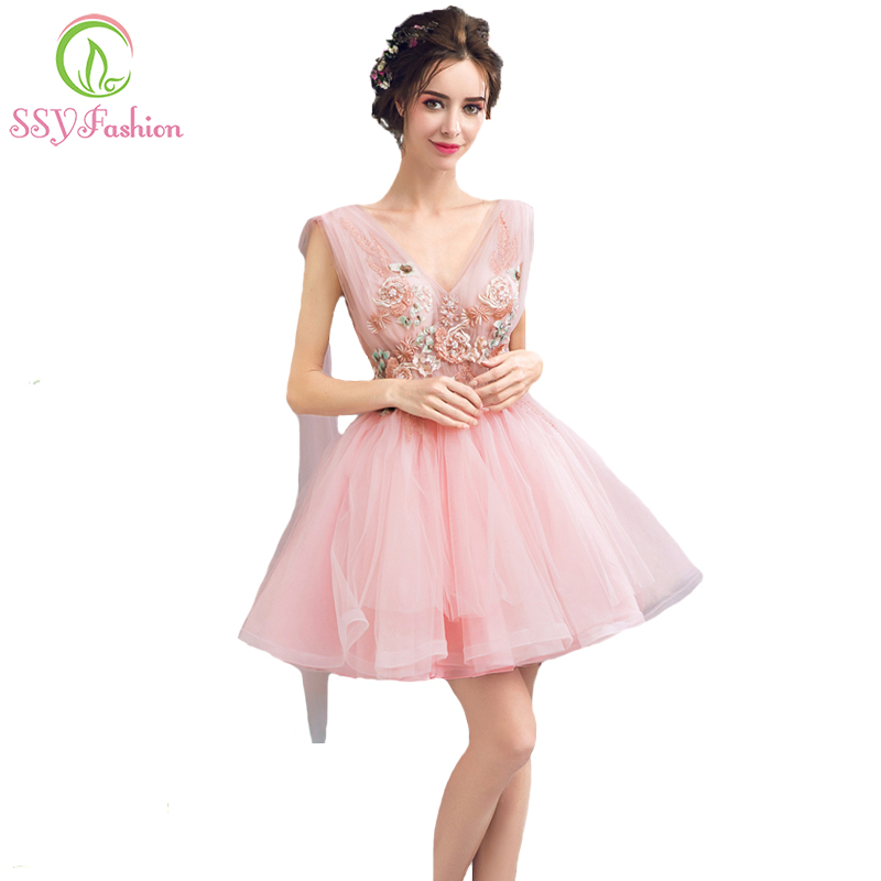 SSYFashion 2017 New Pink Lace Flower   Cocktail     Dresses   Bride Sweet Beading V-neck with Shoulder Veil Banquet Party Formal Gowns