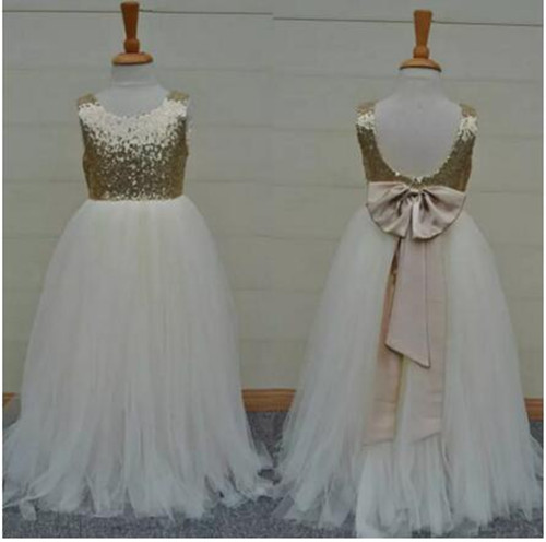 Real Image Hot Sale Custom Flower Girls Dresses Sparkly Gold Sequins Kids Long Formal Girls Pageant Gowns First Communion Dress hot sale halter beading sequins short homecoming dress