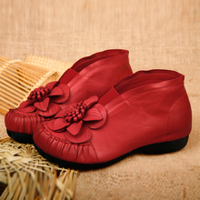 2016 autumn and winter genuine leather women's shoes vintage red flower women pumps low heels shoes sheepskin high mother shoes