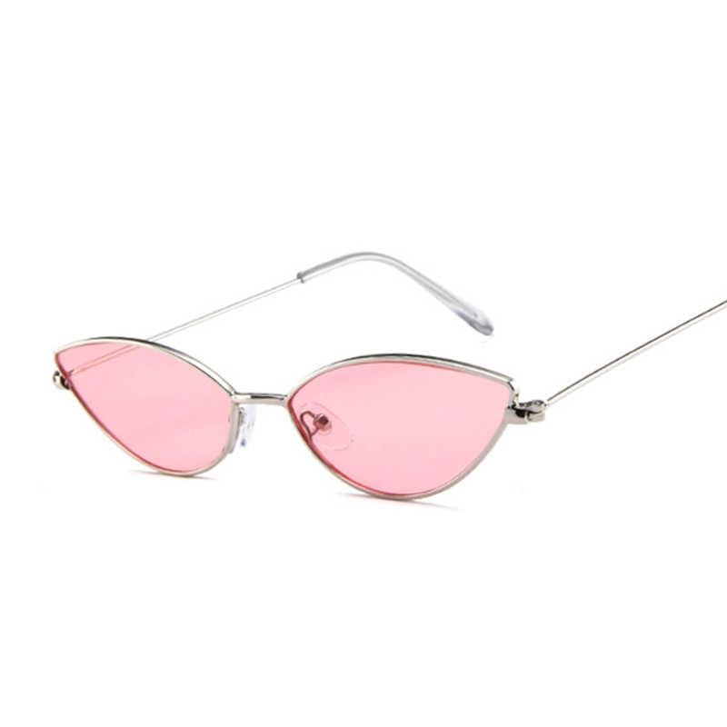 Lucu Seksi Mata Kucing Kacamata Wanita Retro Kecil Hitam Merah Pink CATEYE Sun Kacamata Perempuan Vintage Warna untuk Wanita