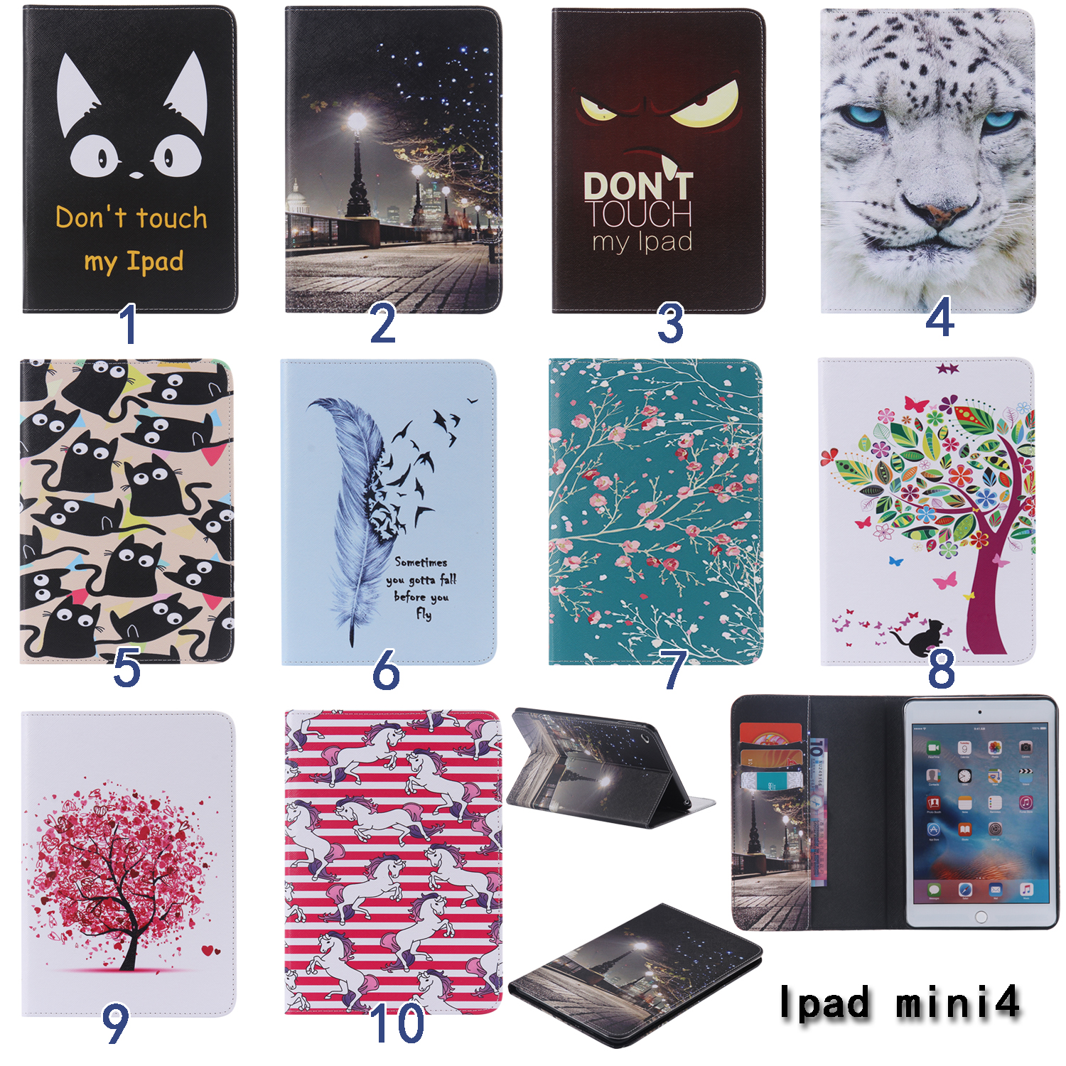For Apple iPad Mini 4 case Flower tree Feather Cat print Wake Up Fold Stand Leather Case Smart Cover For iPad Mini4 tablet