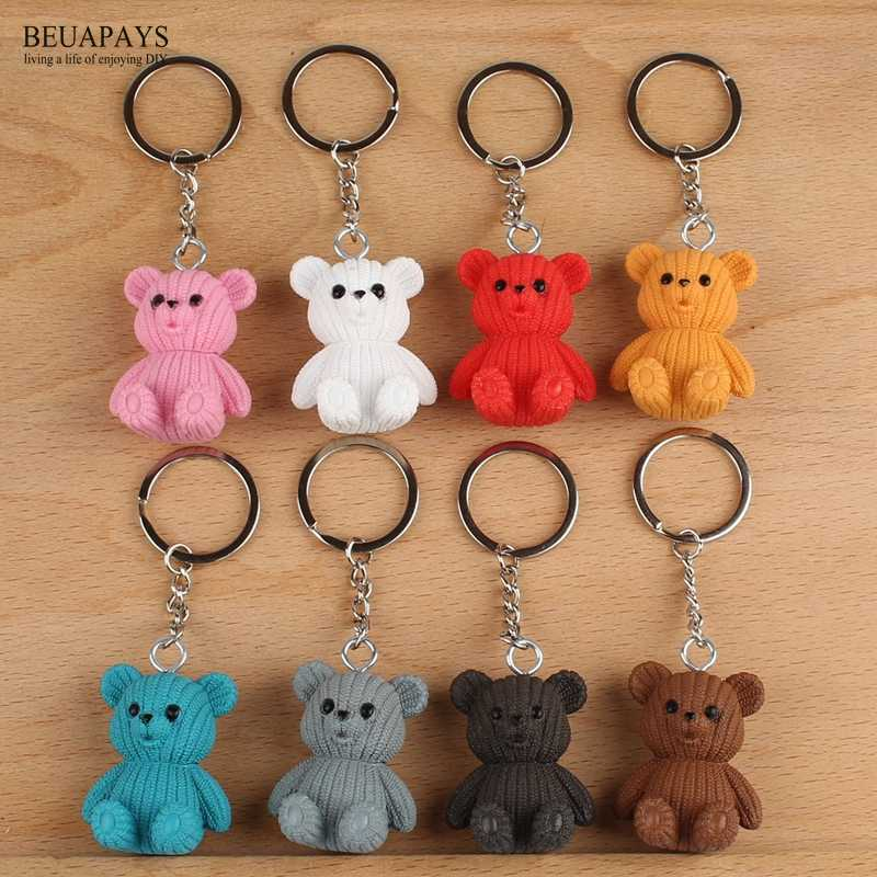 5set 40pcs Figurines Miniatures Wool Bear Party Favors Keyboard Creative Hanger Cartoon gift key chain Accessories PVC Crafts