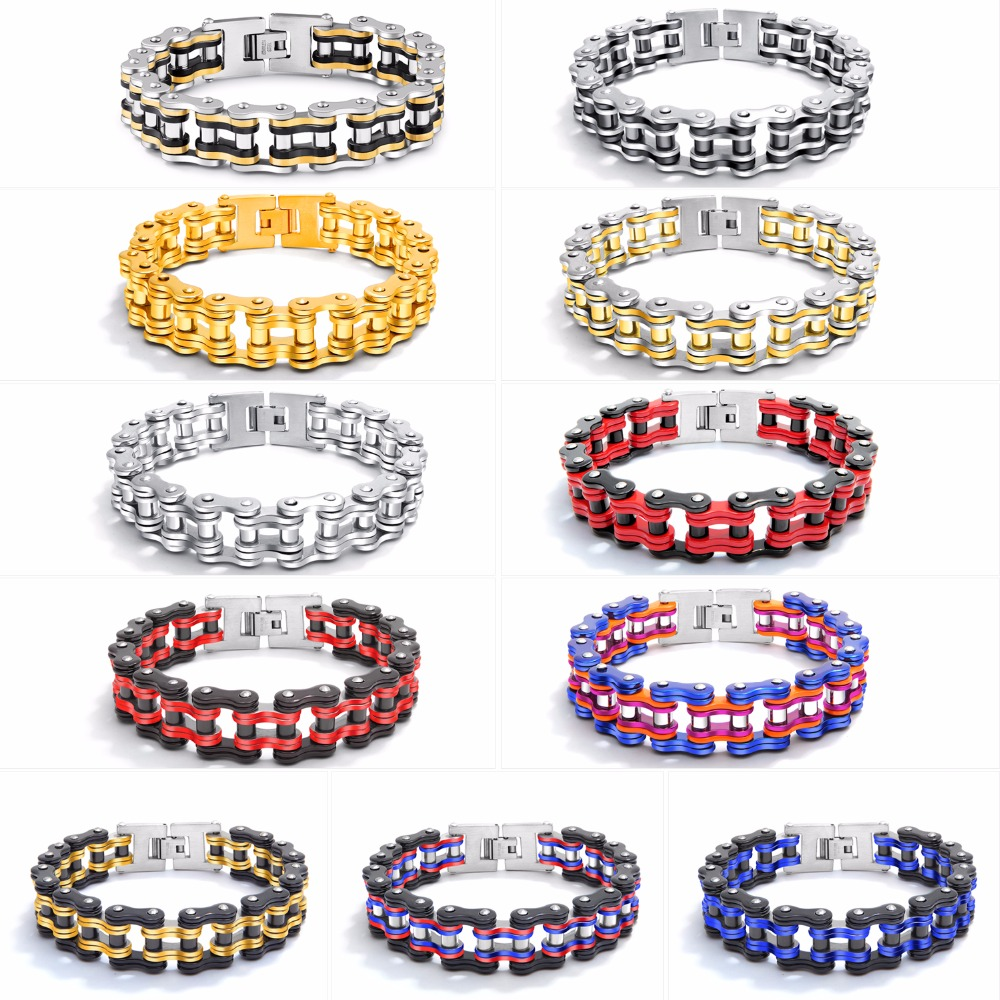 OPK Biker Bracelet Mens Stainless Steel Motorcycle Bike Chain Wristband Bracelets Colorful 8.6 Inch GS857/934 opk ds967 bracelet blue