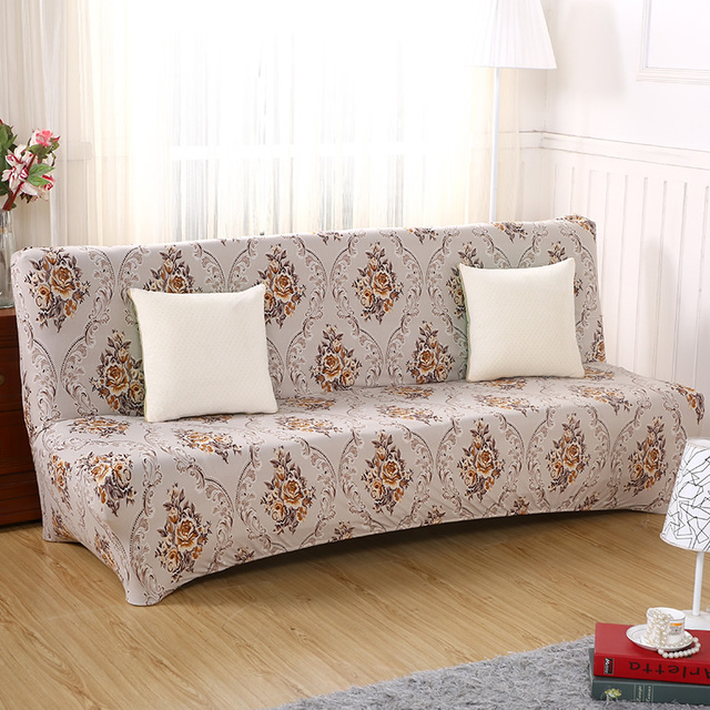 Foldable Sofa Bed Without Armrest Covers Couch Cover Printed Seat Stretch Furniture Slipcover Armless