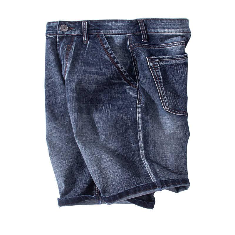 Buraco shorts jeans stretch homens cotton blue jeans homem streetswear Elástico verão calças na altura do joelho da marca 42 tamanho grande M-7XL